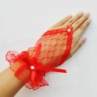 thumb-Prachtige Rode Bruidshandschoenen-2