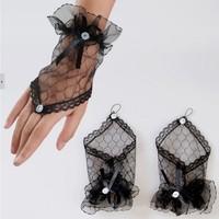 thumb-Prachtige Zwarte Bruidshandschoenen-2