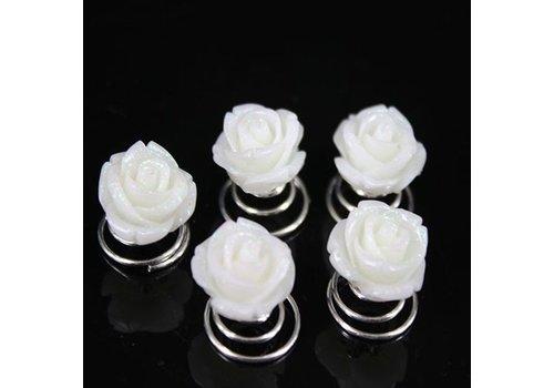 Prachtige Ivoor Kleurige Roosjes Curlies - 5 stuks