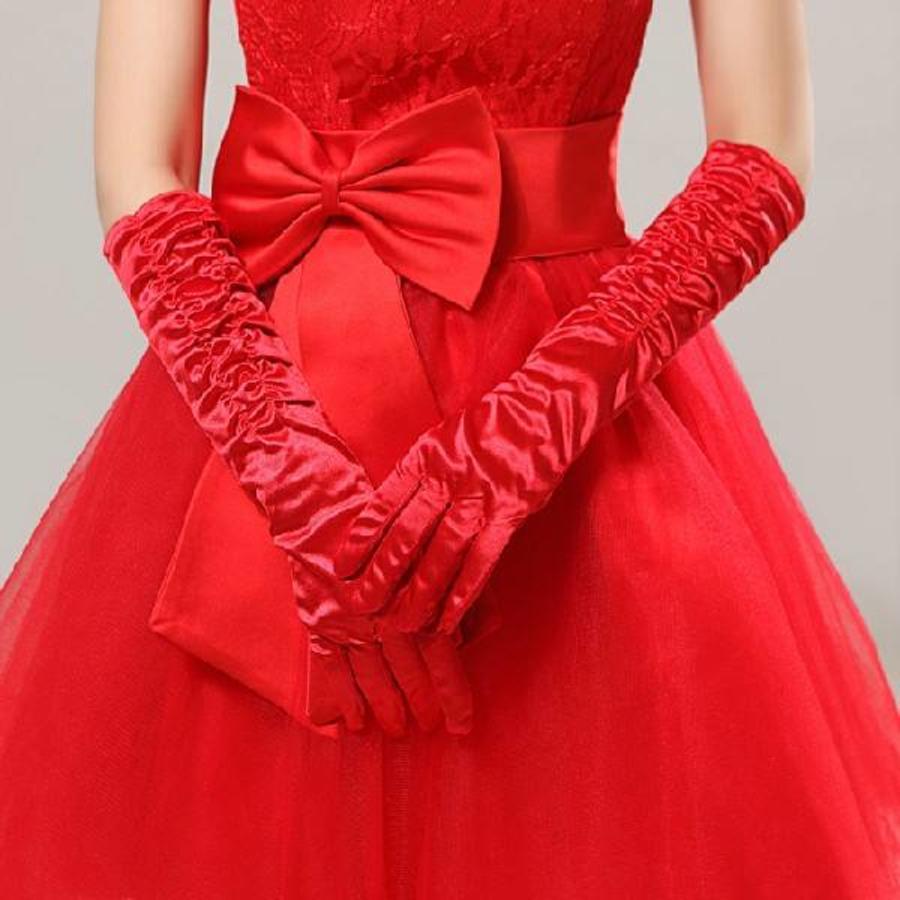 SALE - Chique Rode Bruidshandschoenen-1