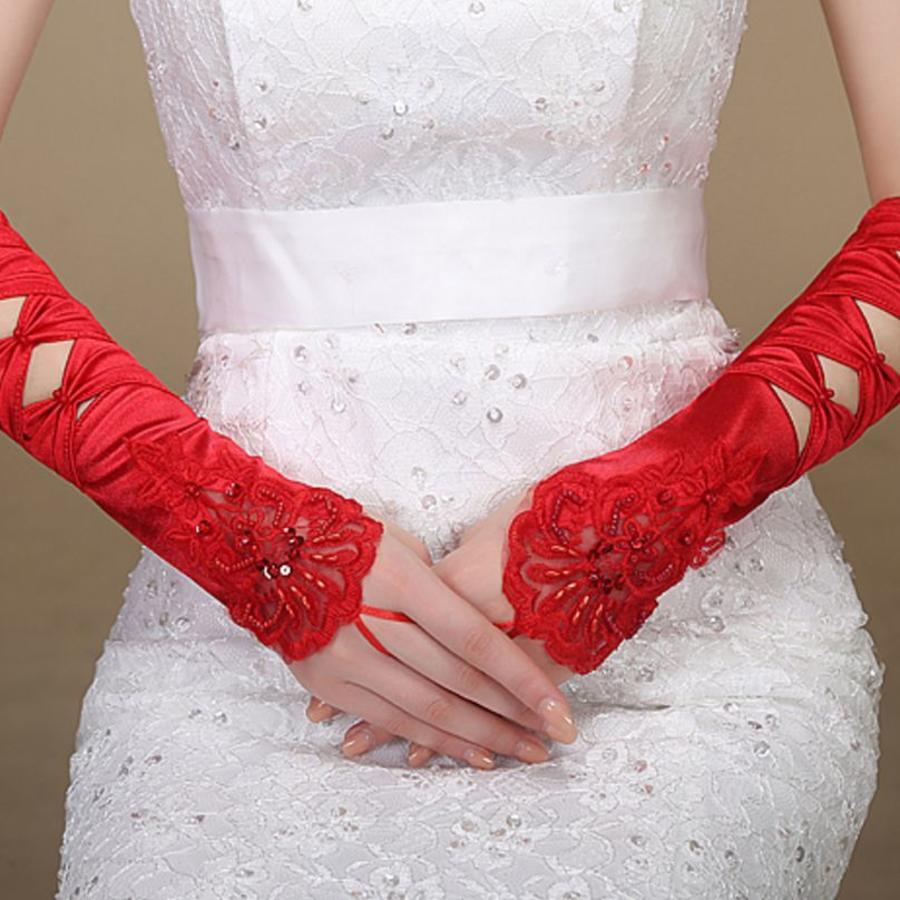 SALE - Elegante Rode Bruidshandschoenen-3