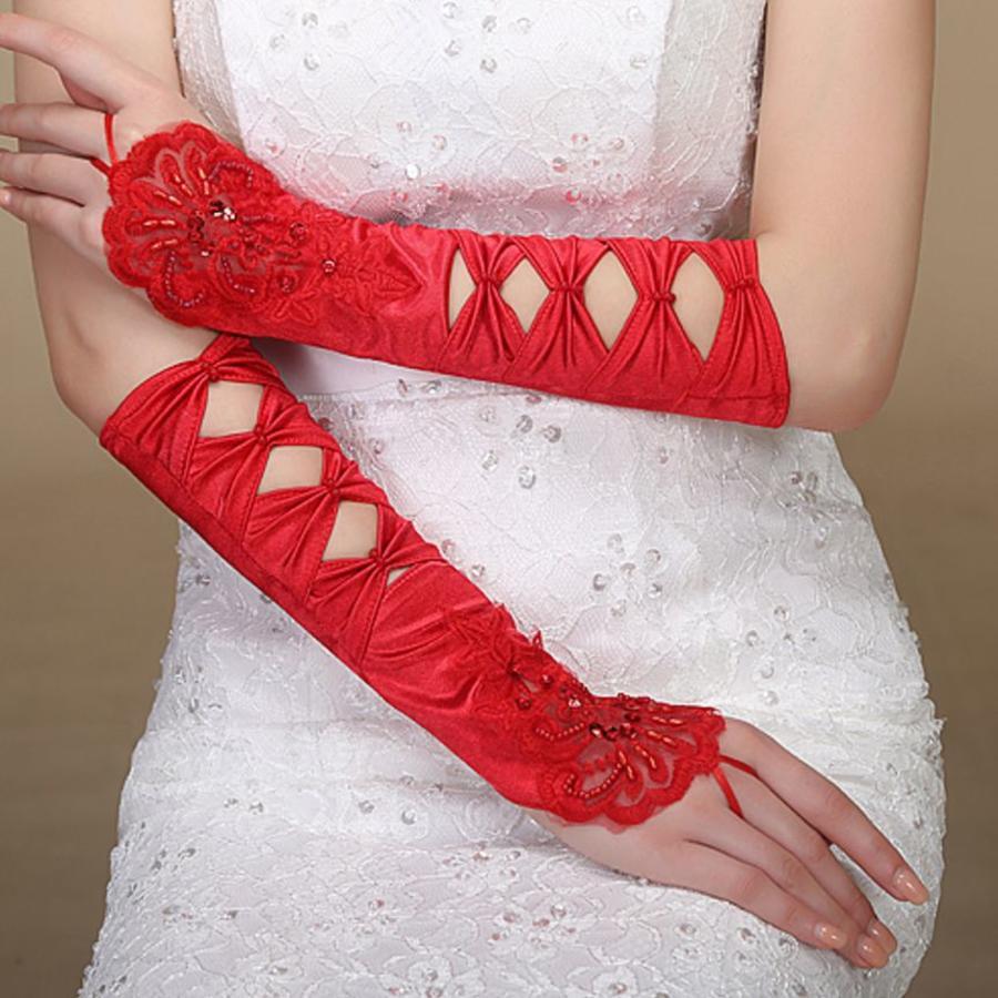 SALE - Elegante Rode Bruidshandschoenen-1