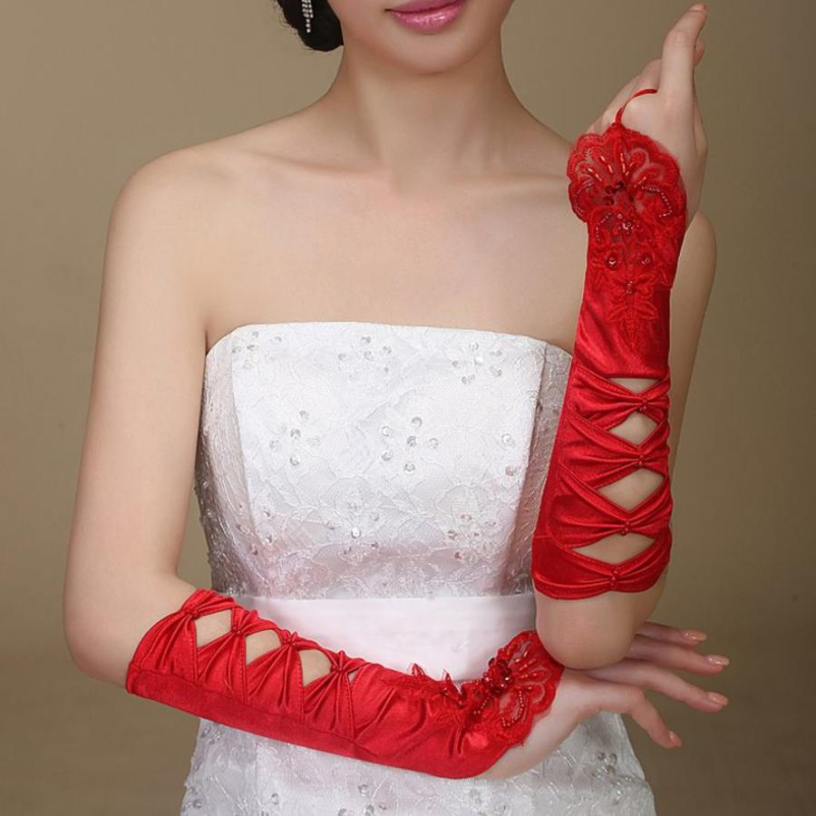 SALE - Elegante Rode Bruidshandschoenen-5