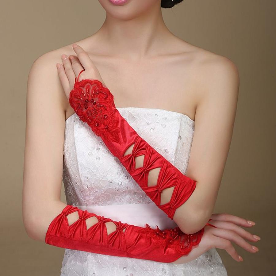 SALE - Elegante Rode Bruidshandschoenen-4