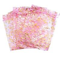 thumb-Organza Zakjes Licht Roze met Gouden Roosjes - Huwelijks Bedankje - 50 stuks-6