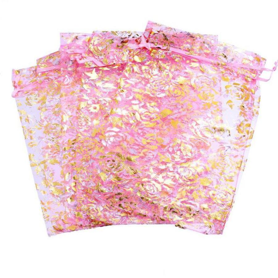 Organza Zakjes Licht Roze met Gouden Roosjes - Huwelijks Bedankje - 50 stuks-6