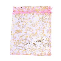 thumb-Organza Zakjes Licht Roze met Gouden Roosjes - Huwelijks Bedankje - 50 stuks-8