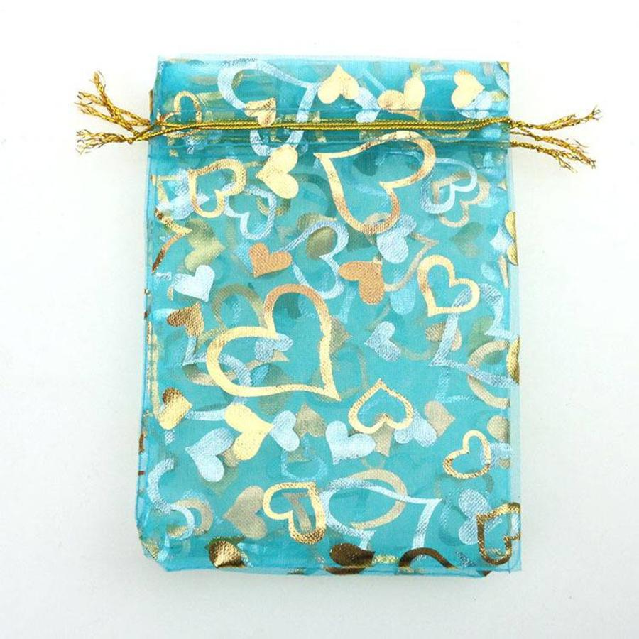 SALE - Organza Zakjes Aqua Blauw met Hartjes - Huwelijks Bedankje - 50 stuks-5