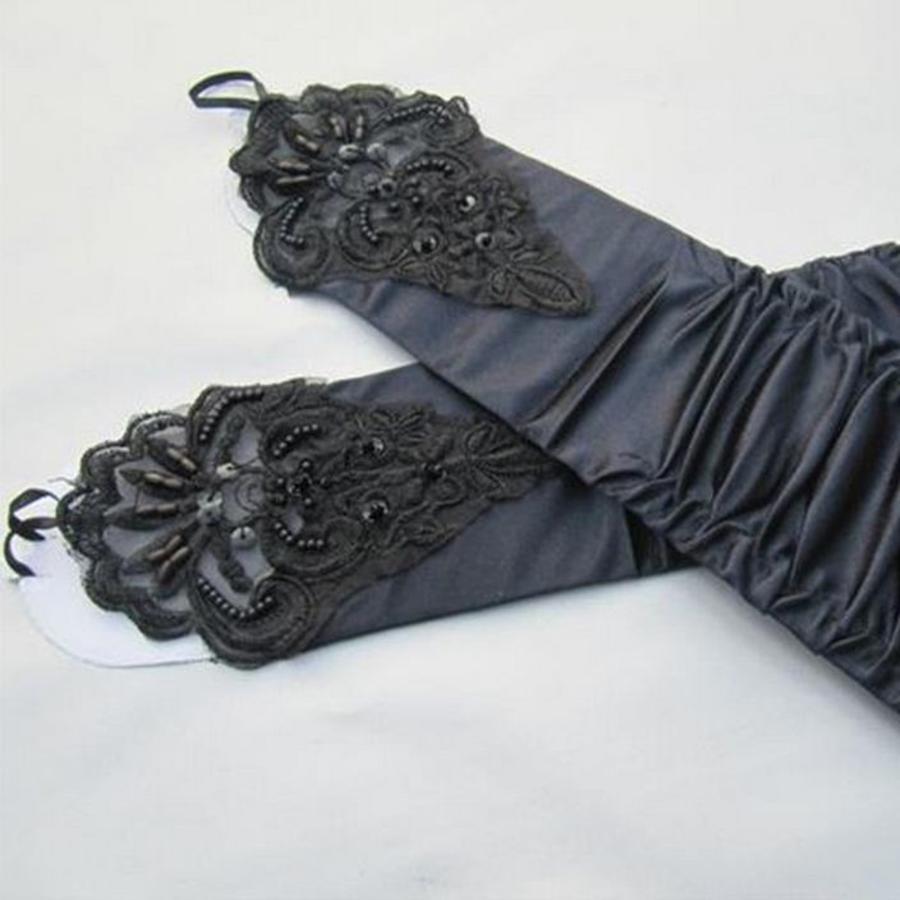 SALE - Elegante Zwarte Bruidshandschoenen-4