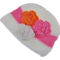 thumb-SALE - Gebreide kindermuts - Off White, Oranje en Roze-2