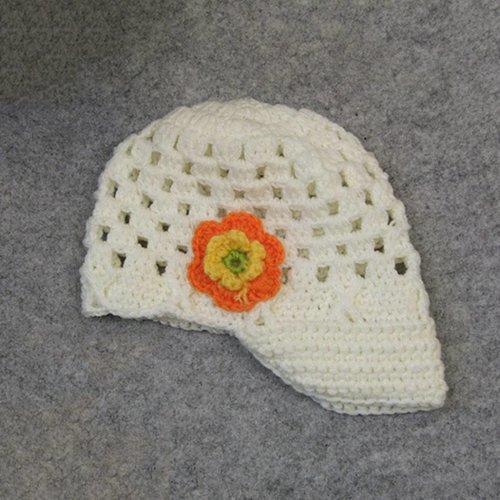 Gebreide kindermuts / petje - Off White, Oranje, Geel en Groen