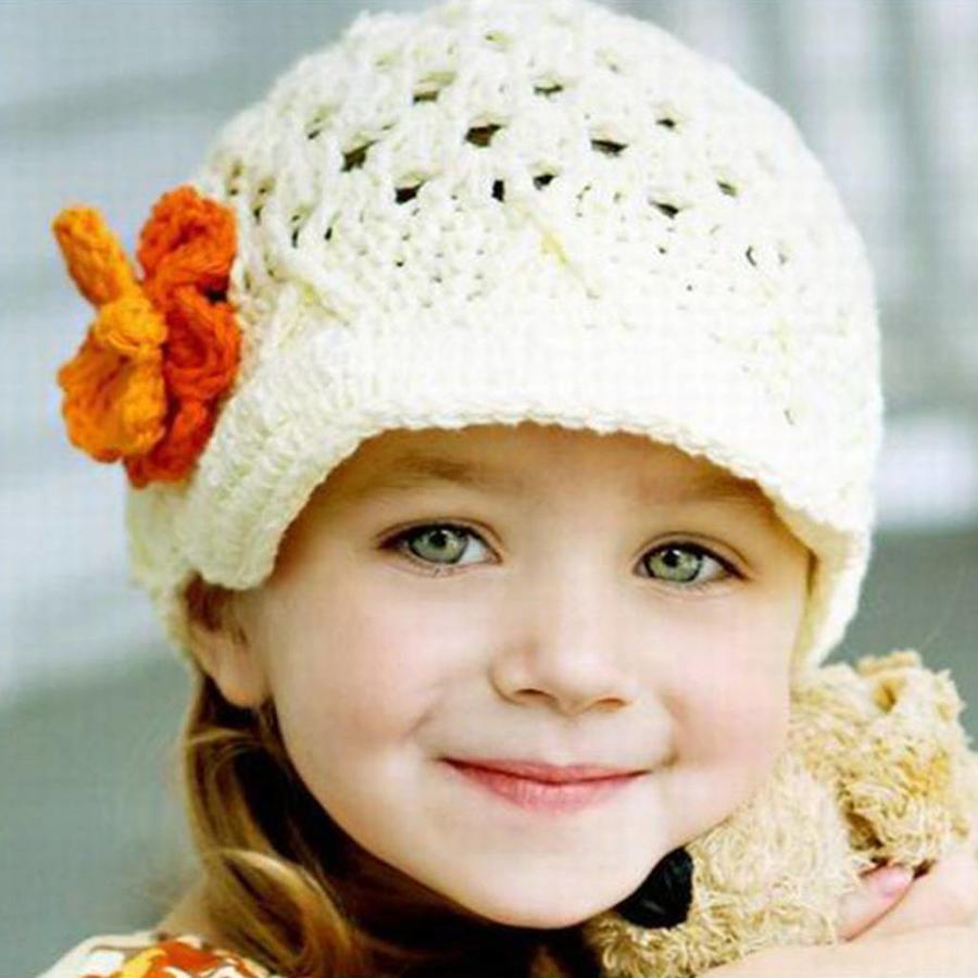 Gebreide kindermuts / petje - Off White, Oranje, Geel en Groen-2