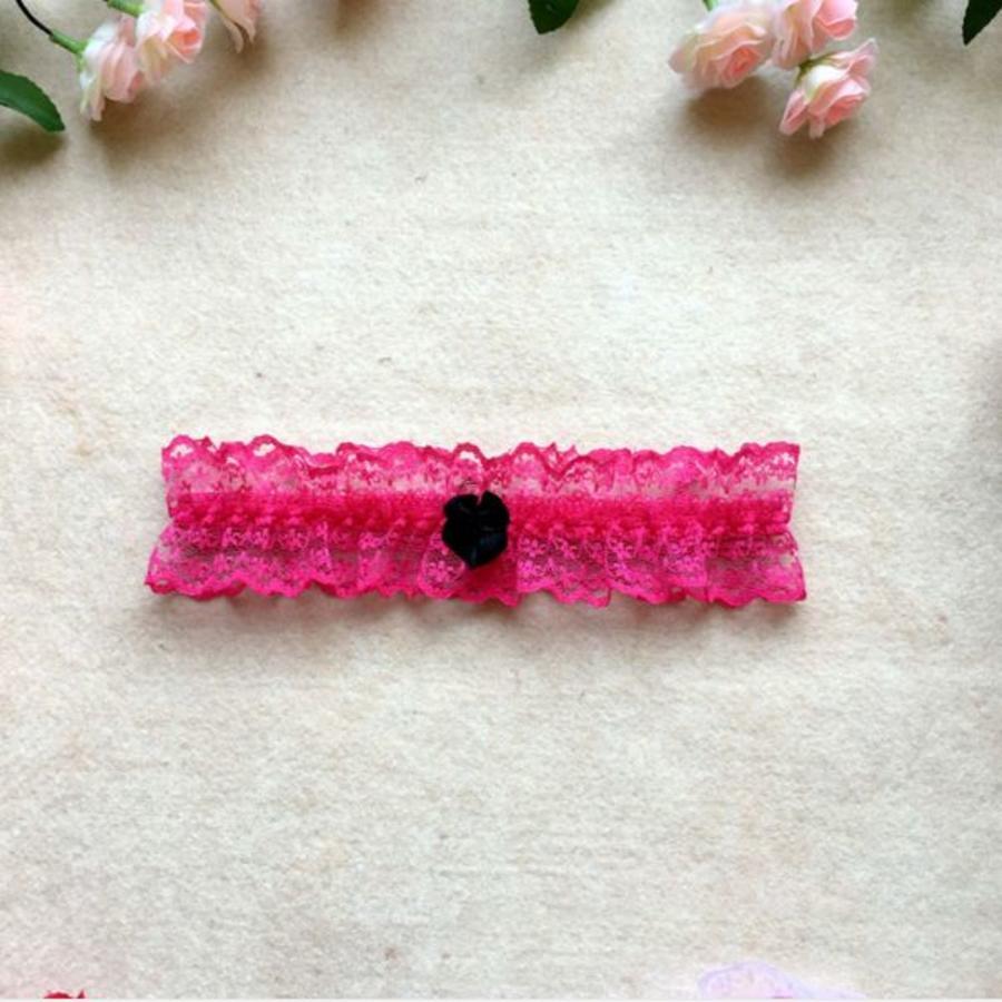 Roze Kousenband met Zwarte Strik-1