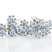 thumb-Hairpins – Zacht Blauw Bloemetje met Diamantjes - 5 stuks-6