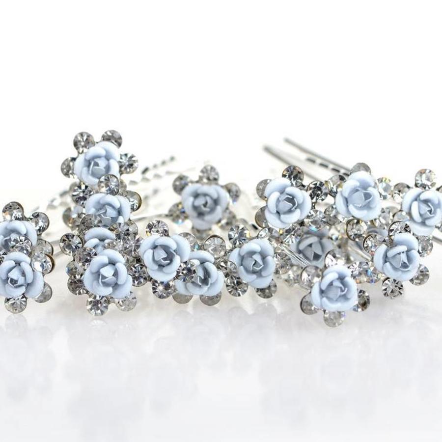 Hairpins – Zacht Blauw Bloemetje met Diamantjes - 5 stuks-6