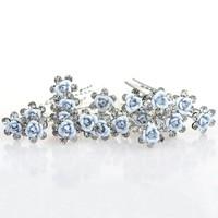thumb-Hairpins – Zacht Blauw Bloemetje met Diamantjes - 5 stuks-8