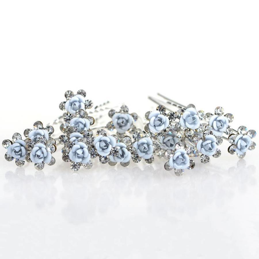Hairpins – Zacht Blauw Bloemetje met Diamantjes - 5 stuks-8