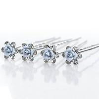 thumb-Hairpins – Zacht Blauw Bloemetje met Diamantjes - 5 stuks-1