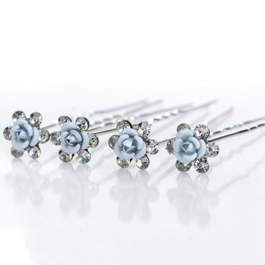 Hairpins – Zacht Blauw Bloemetje met Diamantjes - 5 stuks-1
