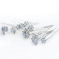 thumb-Hairpins – Zacht Blauw Bloemetje met Diamantjes - 5 stuks-7