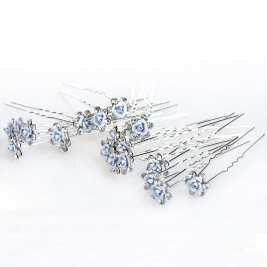 Hairpins – Zacht Blauw Bloemetje met Diamantjes - 5 stuks-7