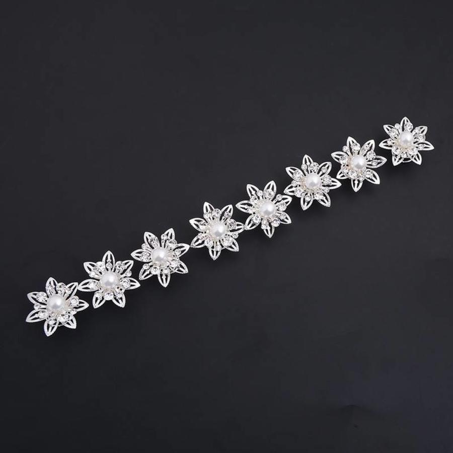 PaCaZa - Curlies Big Flower met Ivoorkleurige Parel - 6 stuks-3