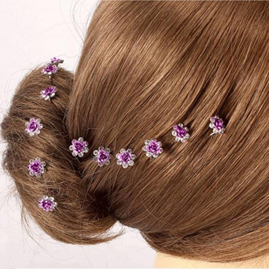 Hairpins – Paars Roosje - 5 stuks-5