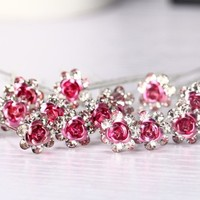 thumb-Hairpins – Roze Roosje - 5 stuks-5
