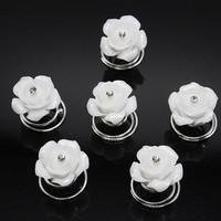 thumb-Prachtige Witte Roosjes met Diamantje Curlies - 5 stuks-1