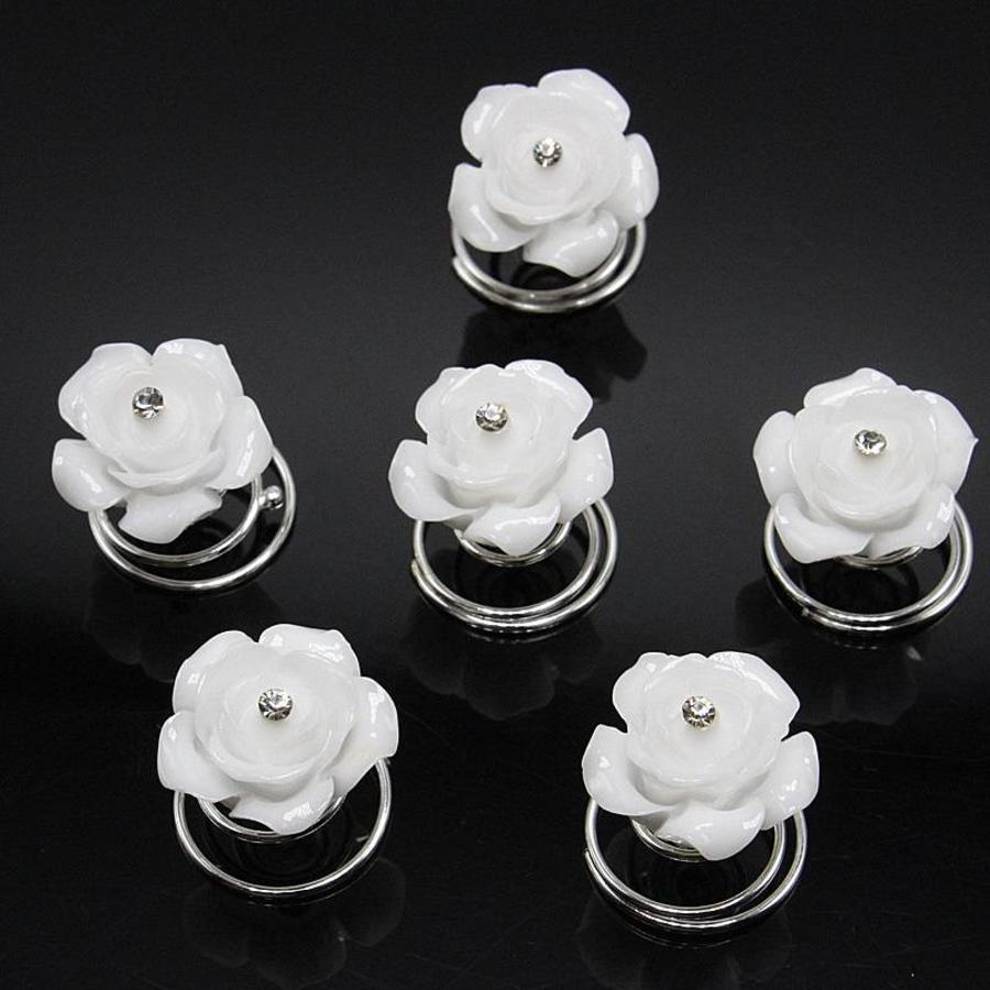 Prachtige Witte Roosjes met Diamantje Curlies - 5 stuks-1