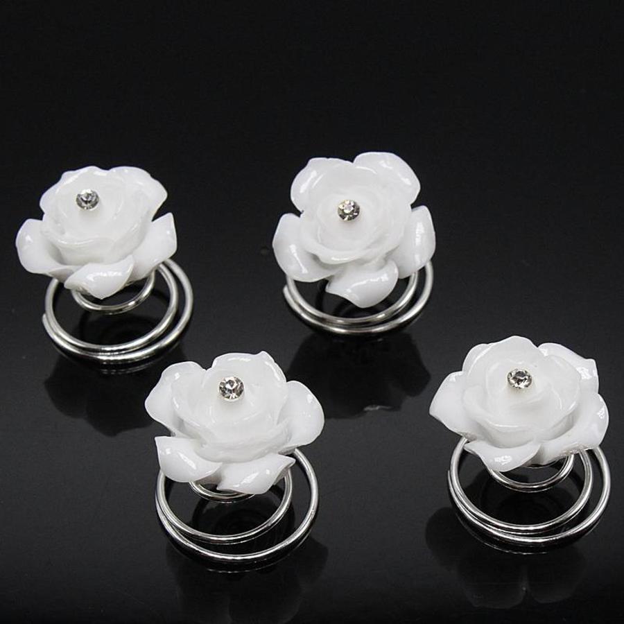 Prachtige Witte Roosjes met Diamantje Curlies - 5 stuks-3