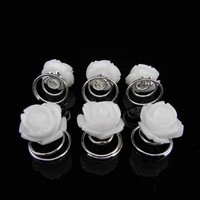 thumb-Prachtige Witte Roosjes Curlies - 6 stuks-3