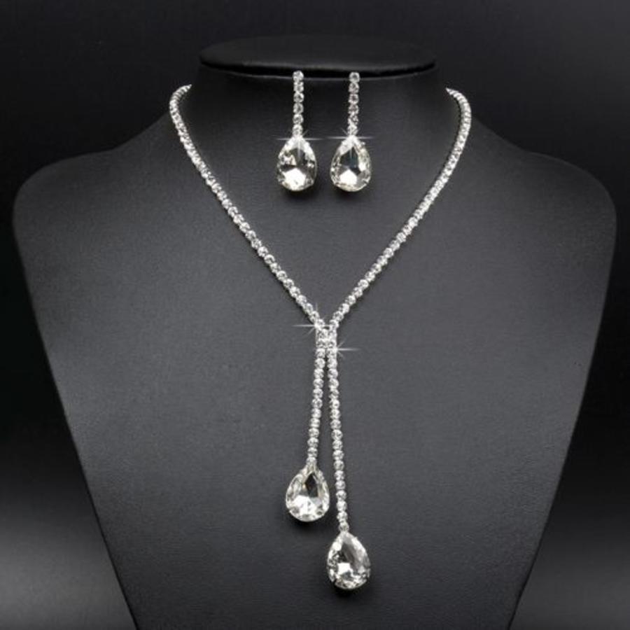 Sieraden Set met Diamanten Druppels-1