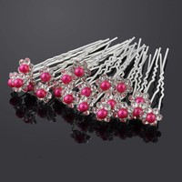 PaCaZa - Hairpins - Bloemetje met Fuchsia Roze Parel - 5 stuks