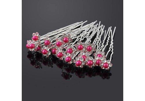 Hairpins – Bloemetje met Fuchsia Roze Parel - 5 stuks