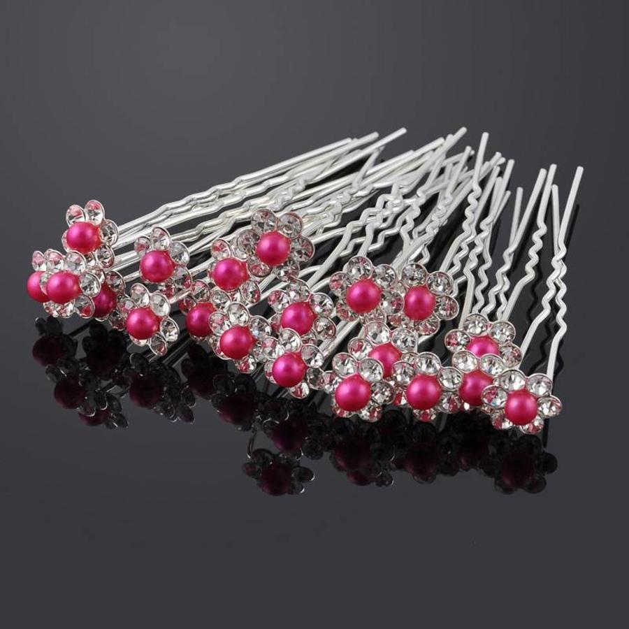 Hairpins – Bloemetje met Fuchsia Roze Parel - 5 stuks-1