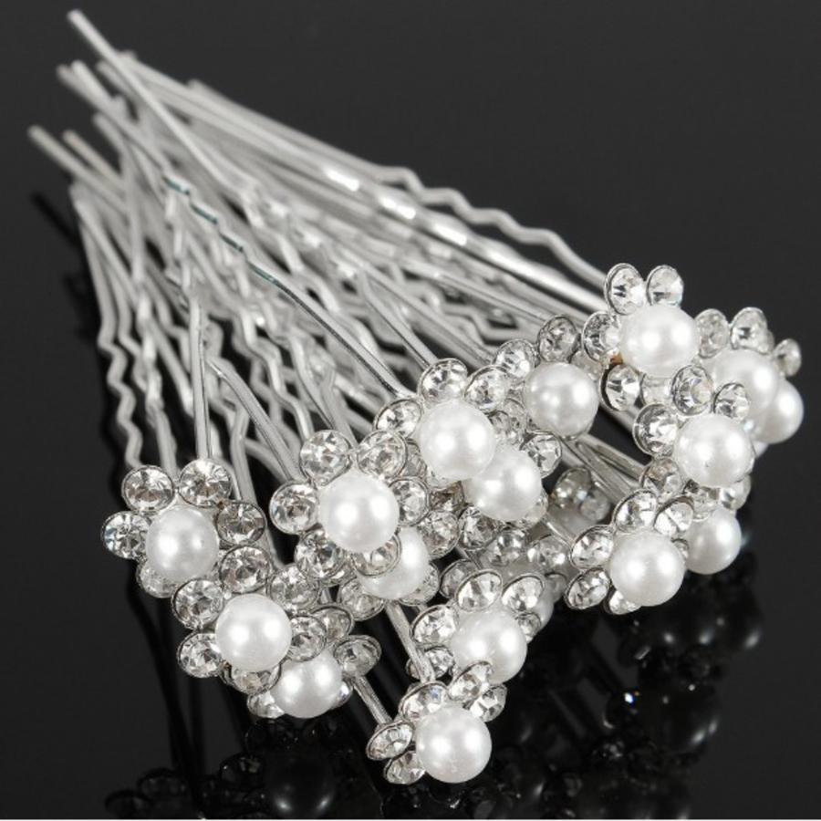 Hairpins – Bloem met Ivoorleurige Parel - 5 stuks-2