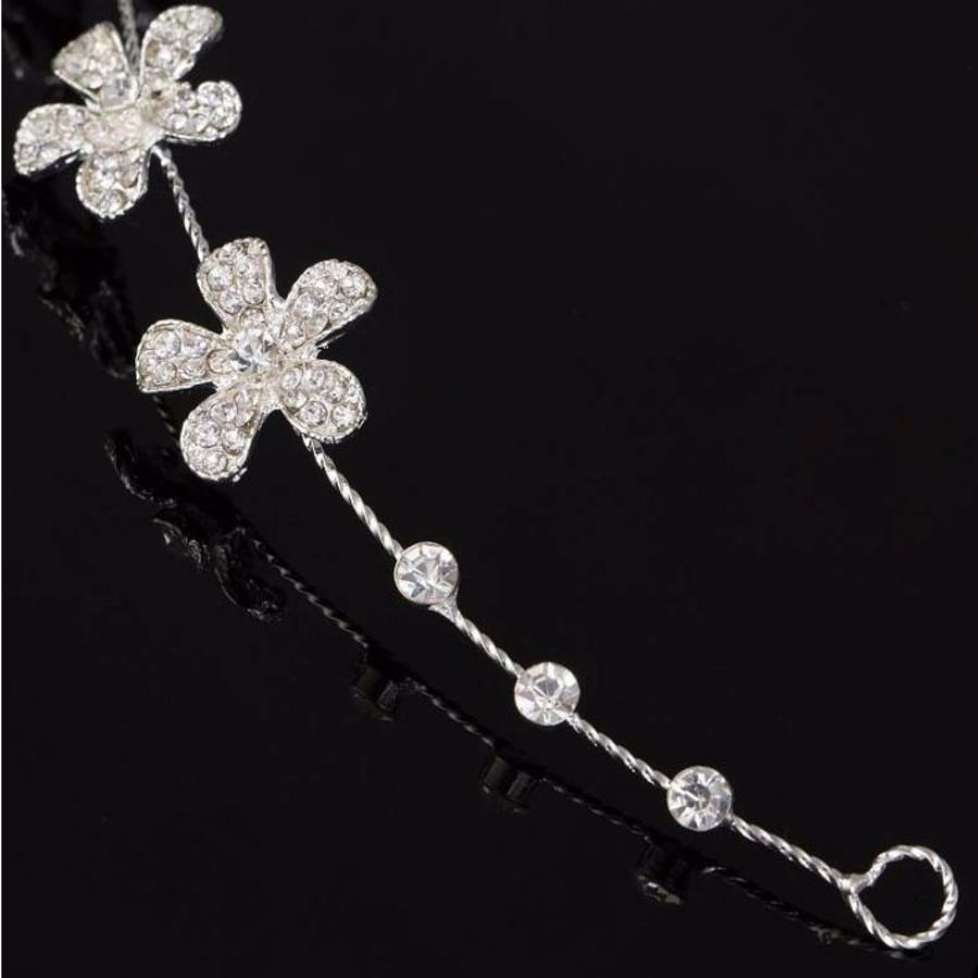 Elegant Haar Sieraad met Kristallen, Bloemen en Ivoorkleurige Parel-4
