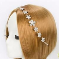 thumb-Elegant Haar Sieraad met Kristallen, Bloemen en Ivoorkleurige Parel-1