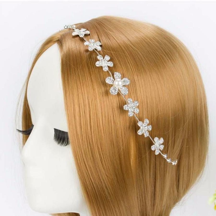 Elegant Haar Sieraad met Kristallen, Bloemen en Ivoorkleurige Parel-1