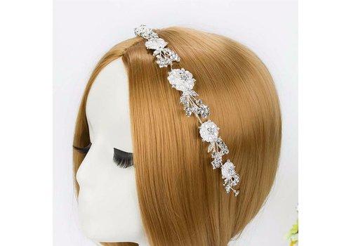 Sierlijk Haar Sieraad met Parels, Bloemen en Kristallen