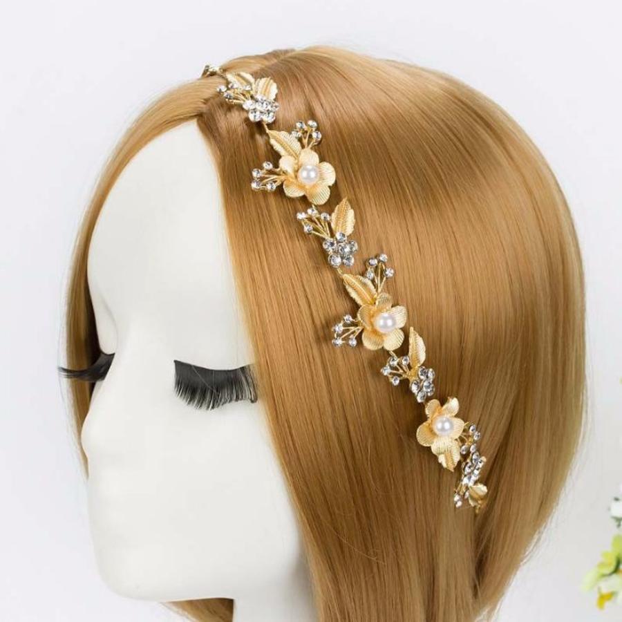 Sierlijk Goudkleurig Haar Sieraad met Parels en Kristallen-1