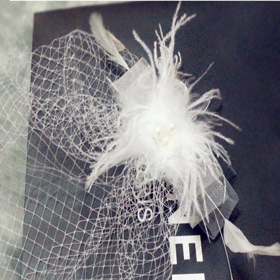 Stijlvolle birdcage veil / sluier / fascinator van french netting - Zwart-4