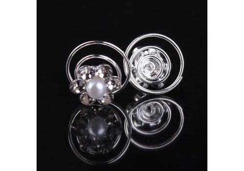 Bloem met Pareltje en Kristallen Curlies - 6 stuks