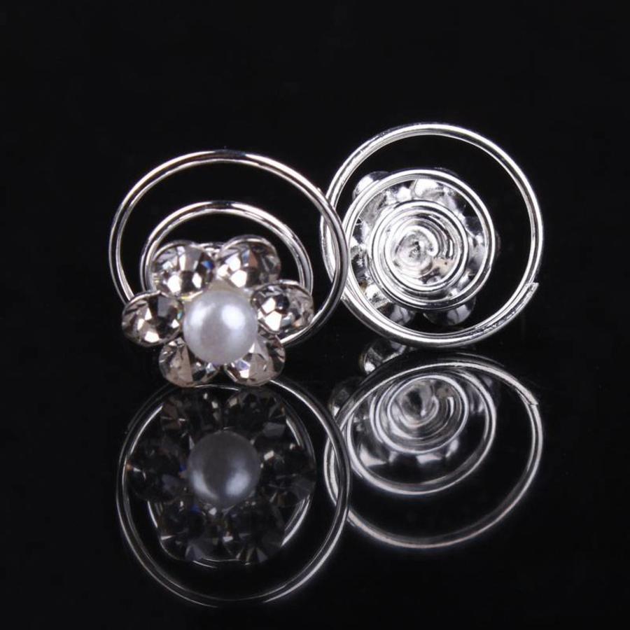 Bloem met Pareltje en Kristallen Curlies - 6 stuks-1