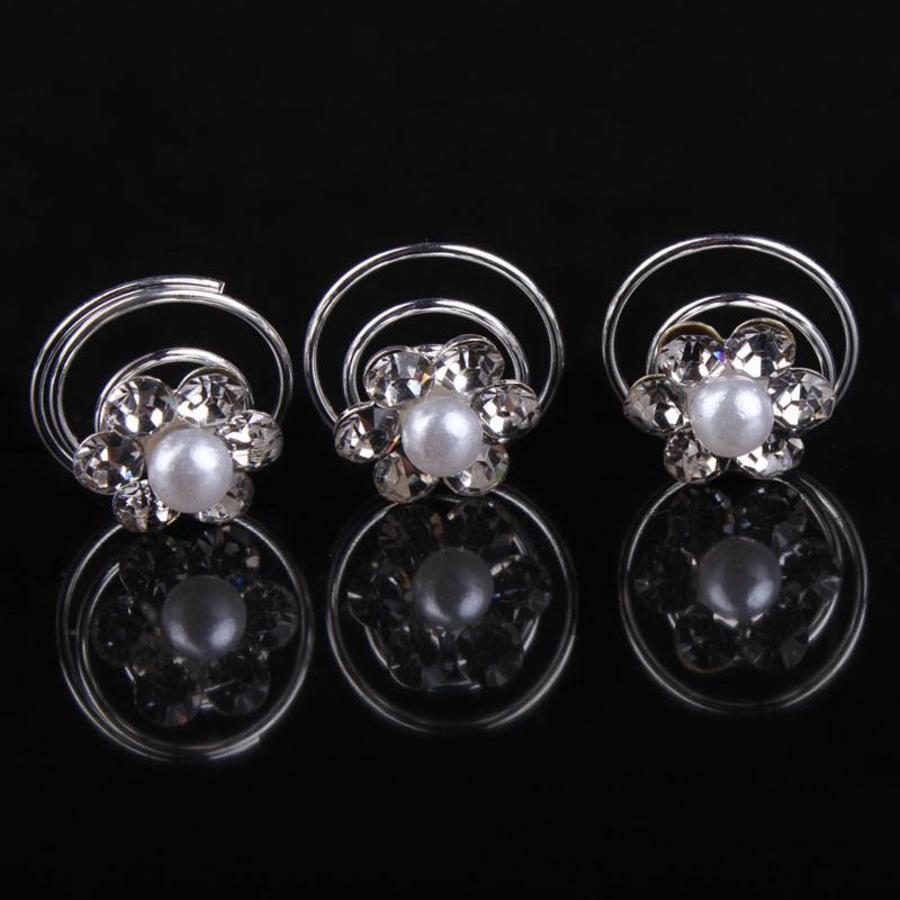 Bloem met Pareltje en Kristallen Curlies - 6 stuks-4