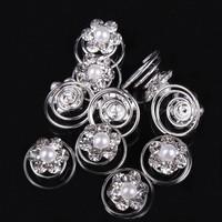 thumb-Bloem met Pareltje en Kristallen Curlies - 6 stuks-6