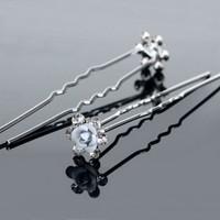 thumb-Hairpins – Zacht Blauw Bloemetje met Diamantjes - 5 stuks-2