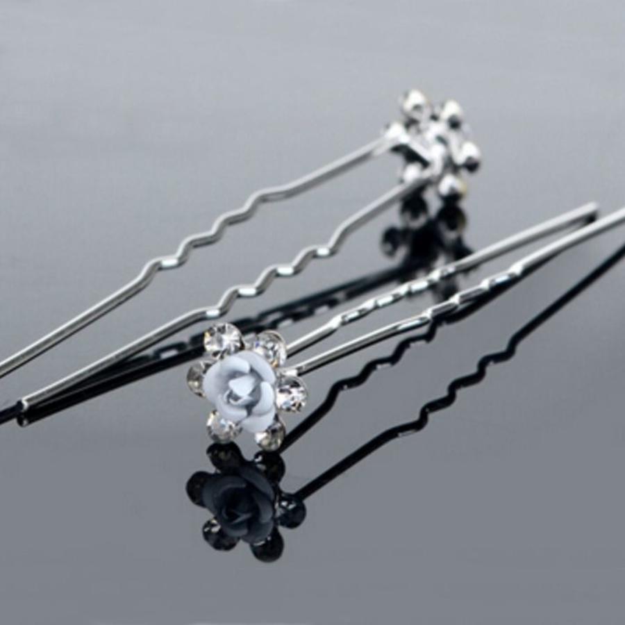 Hairpins – Zacht Blauw Bloemetje met Diamantjes - 5 stuks-2