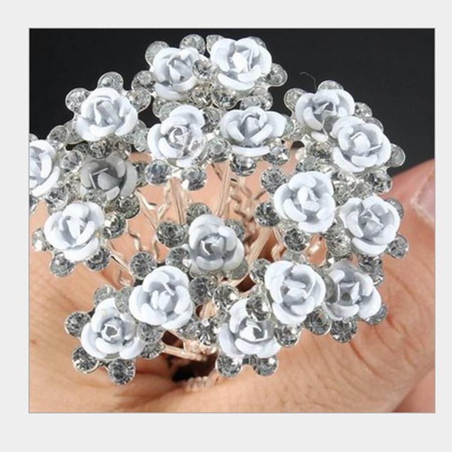 Hairpins – Zacht Blauw Bloemetje met Diamantjes - 5 stuks-4